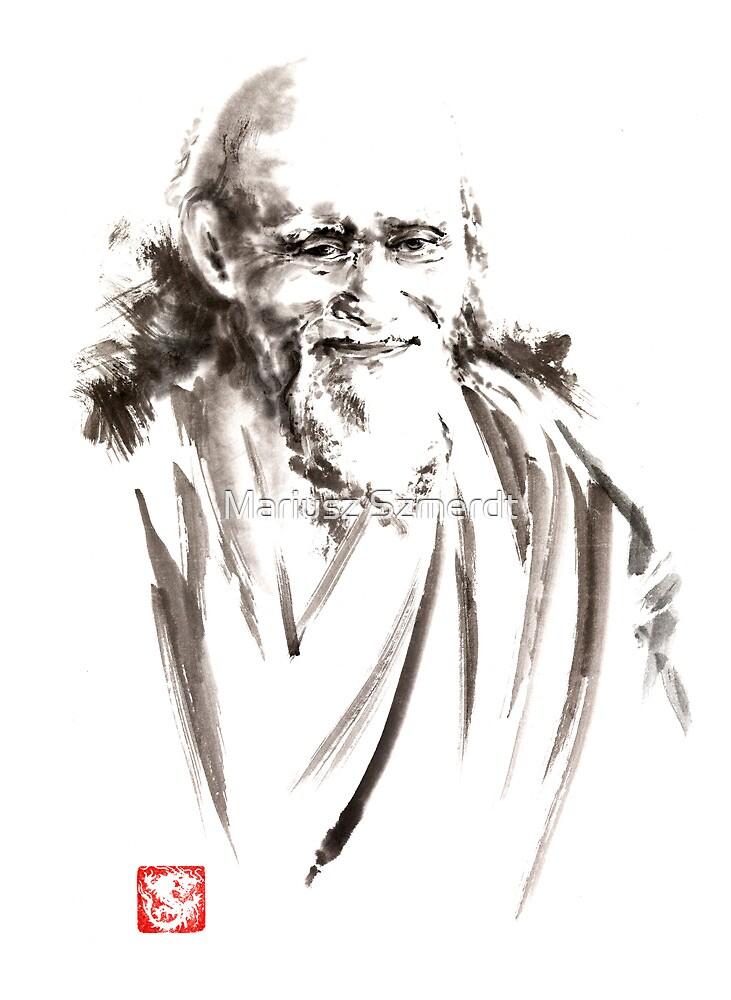 Morihei Ueshiba Sensei Aikido martial arts japan japanese master sum-e portrait founder by Mariusz Szmerdt