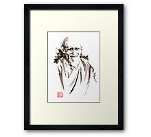 Morihei Ueshiba Sensei Aikido martial arts japan japanese master sum-e portrait founder Framed Print
