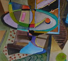 Cubist still life with runner bean by paperd0g