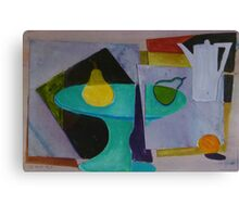 Mixed media abstract still life with coffee pot Canvas Print