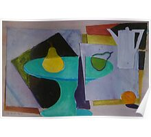 Mixed media abstract still life with coffee pot Poster