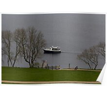 Cruise boat in Loch Ness next to Urquhart Castle Poster