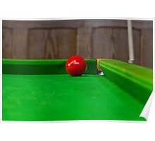 Red pool ball on a pool table Poster
