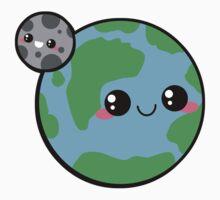 Kawaii Earth & Moon by pai-thagoras
