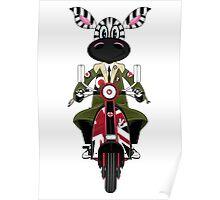 Zebra Mod & Retro Scooter Poster