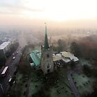 St Andrews Church in the mist by Peter Barrett