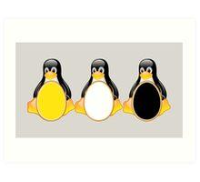 LINUX TUX PENGUIN  3 COLOR EGGS Art Print