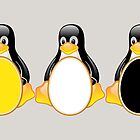 LINUX TUX PENGUIN  3 COLOR EGGS by SofiaYoushi