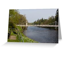 Benches and suspension bridge over River Ness Greeting Card