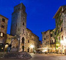 San Gimignano at night, Toscana, Italy, San Gimignano, Toskana, Italien by Frank Schneider