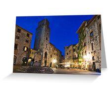 San Gimignano at night, Toscana, Italy, San Gimignano, Toskana, Italien Greeting Card