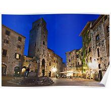 San Gimignano at night, Toscana, Italy, San Gimignano, Toskana, Italien Poster