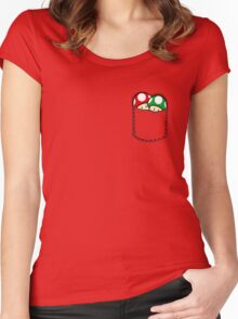 Red Green Mushrooms In Pocket Women's Fitted Scoop T-Shirt