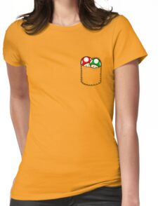 Red Green Mushrooms In Pocket Womens Fitted T-Shirt