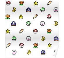 Super Mario World pixel item pattern Star Mushroom Flower Poster