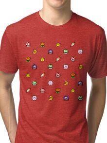 Super Mario World pixel item pattern Star Mushroom Flower Tri-blend T-Shirt