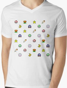 Super Mario World pixel item pattern Star Mushroom Flower Mens V-Neck T-Shirt