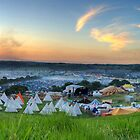 Glastonbury Festival at Sunset Panorama with Tipis by oindypoind