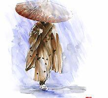 Geisha Japanese woman custom handmade paper umbrella rain Japan japanese painting art  by Mariusz Szmerdt