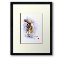 Geisha Japanese woman custom handmade paper umbrella rain Japan japanese painting art  Framed Print