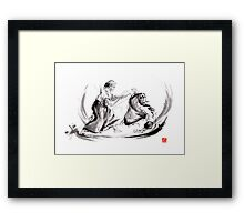 Aikido fight scenery martial arts drawing painting sketch art draw japan japanese school Framed Print