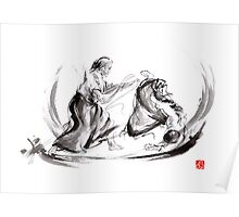 Aikido fight scenery martial arts drawing painting sketch art draw japan japanese school Poster