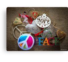 Hope, Peace & Love Canvas Print