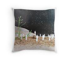 Miniature Figurines Gather Beneath Starlight, 8mm Throw Pillow