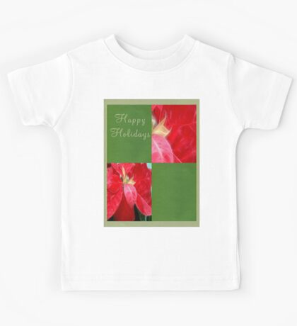 Mottled Red Poinsettia 2 Happy Holidays Q5F1 Kids Tee