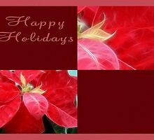 Mottled Red Poinsettia 2 Happy Holidays Q10F1 by Christopher Johnson