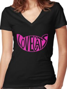 Lovecats - Pink Women's Fitted V-Neck T-Shirt
