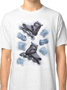 Inline skates and protective gear dynamic still life T-shirt design Classic T-Shirt