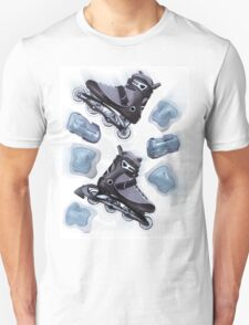 Inline skates and protective gear dynamic still life T-shirt design T-Shirt