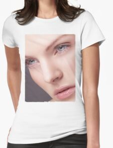 Beautiful Woman Face with Perfect Skin T-shirt design Womens Fitted T-Shirt