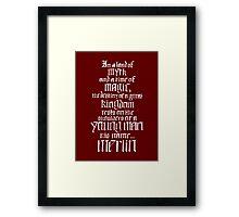 In a Land of Myth... Merlin (white) Framed Print