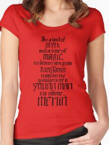 In a Land of Myth... Merlin (black) Women's Fitted Scoop T-Shirt