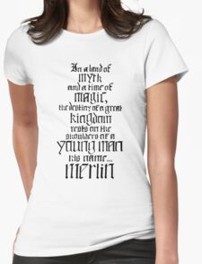 In a Land of Myth... Merlin (black) Womens Fitted T-Shirt