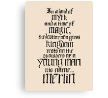 In a Land of Myth... Merlin (black) Canvas Print