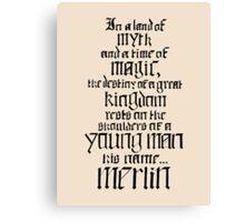 In a Land of Myth... Merlin (black) Canvas Print
