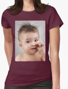 One Messy Baby Boy Sucking His Thumb T-shirt design Womens Fitted T-Shirt