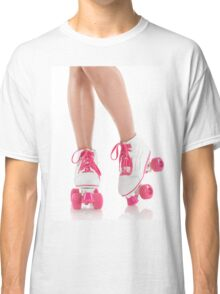 Young Woman Wearing Roller Derby Skates T-shirt design Classic T-Shirt