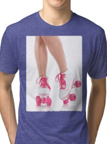 Young Woman Wearing Roller Derby Skates T-shirt design Tri-blend T-Shirt