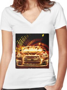 Sports Car in Flames T-shirt design Women's Fitted V-Neck T-Shirt