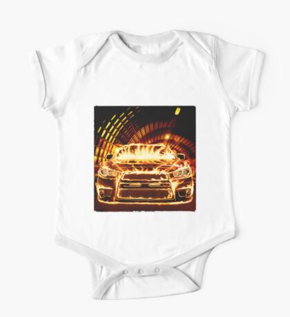 Sports Car in Flames T-shirt design One Piece - Short Sleeve