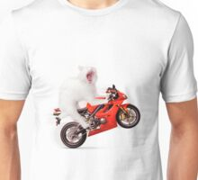 Kitty on a Motorcycle Doing a Wheelie T-shirt design Unisex T-Shirt