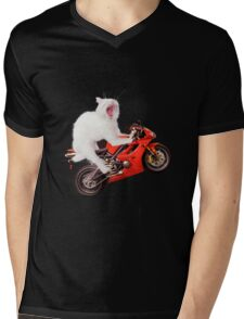 Kitty on a Motorcycle Doing a Wheelie T-shirt design Mens V-Neck T-Shirt