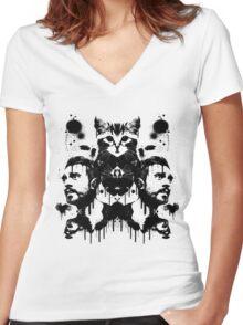 Bastille Kyle Inkblot Women's Fitted V-Neck T-Shirt
