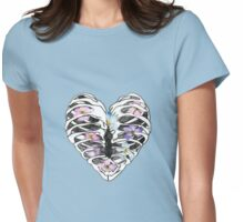 Floral Rib Cage Womens Fitted T-Shirt