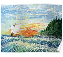 Sunrise in nothern sea (classical oil painting for posters and prints) Poster