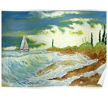 Yatch (classical oil painting for posters and prints) Poster